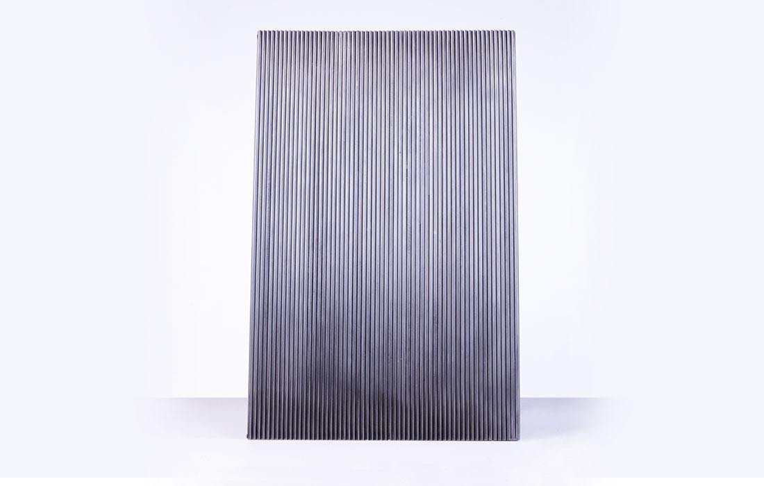Perfil del proyecto M-B de José Carlos Balanza. De 3x3x4,6m. Será construida en hierro mediante 3 planchas y 60 redondos macizos, unidos entre sí mediante cordones de soldadura para el Museo de Arte Contemporáneo del Camino