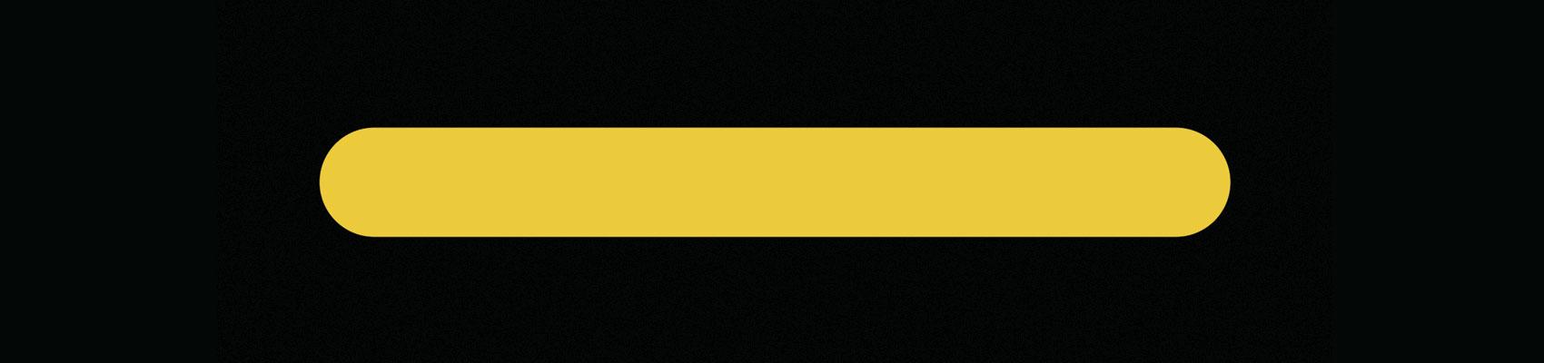 Línea amarilla con los extremos redondeados sobre fondo negro o imagotipo del Museo de Arte Contemporáneo del Camino MACC
