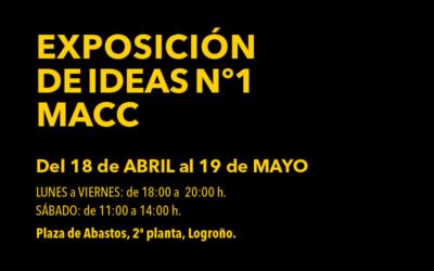 Cartel Exposición de Ideas nº1 MUSEO DE ARTE CONTEMPORÁNEO DEL CAMINO. Del 18 de abril al 19 de mayo en la 2ª planta de la Plaza de Abastos de Logroño