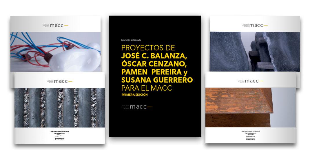 Tripticos que recogen los proyectos de la Exposición nº 1 del Museo de Arte Contemporáneo del Camino. De los artistas Susana Guerrero, Jose Carlos Balanza, Pamen Pereira y Oscar Cenza